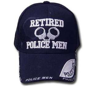 BLUE RETIRED POLICEMAN BASEBALL CAP HAT POLICE ADJ