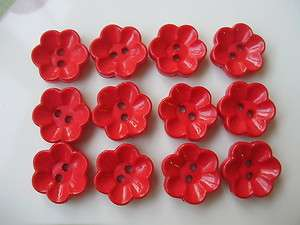 70 Button Daisy Flower Craft Sew Cardmaking Red 15mm