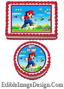 SUPER MARIO Edible Birthday Party Cake Image Decoration Cupcake Topper