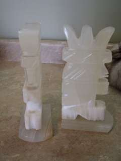 CREAM/WHITE ONYX Bookends INDIAN/AZTEC/TRIBAL Statue