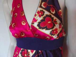 Forever 21 Full Length Maxi Dress Pink Purple Satin Summer Halter
