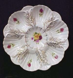 Limoges Porcelain China Oyster Plate Roses Serving Dish