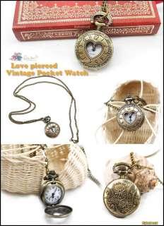Antique Bronze love heart Necklace Pendant Chain Round Pocket Watch
