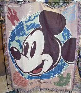 WALT DISNEY WORLD ~ Mickey Mouse Tapestry Afghan Throw