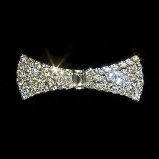 Swarovski Crystal Rhinestone Flared Bow Tie Barrette