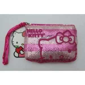 Hello Kitty PINK Sequinse Zipper Coin Money Bag