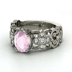, Oval Rose Quartz 14K White Gold Ring with White Sapphire Jewelry