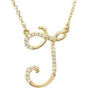 14K Yellow Gold Alphabet Initial Letter J Diamond Pendant Necklace, 17