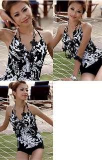 Trendy Tropical Open Back Halter Tankini Set Bathing Suit Swimsuit S M