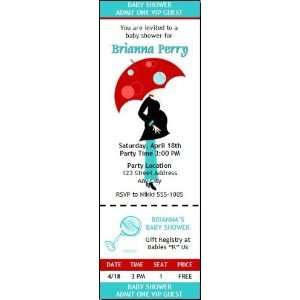 Mod Mom Baby Shower Ticket Invitation