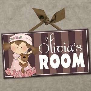 Vintage Girls Personalized Kids Room Wall Door Sign BABY