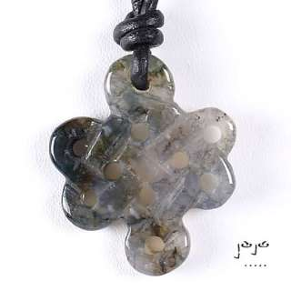 one size fits all moss agate celtic knot on black leather necklace you