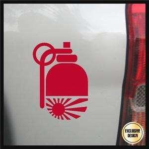 JDM Hand Grenade Decal, Rising Sun Bomb Sticker, Japan
