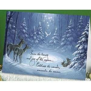 (Abbey Press 1513 6T) Forest Scene Christmas Card
