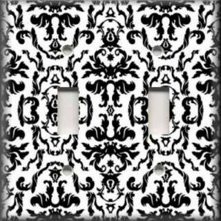 Switch Plate Cover   Bold Black And White   Flourish Damask Design