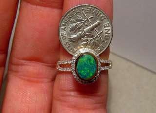 Emerald Green Natural Black OPAL & DIAMOND RING 14k Yellow Gold