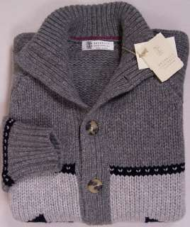 CUCINELLI SWEATER GRAY 100%CASHMERE 12 PLY CARD M 50e NEW