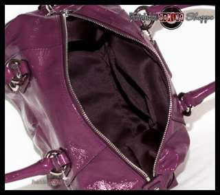 ASHLEY PATENT LEATHER SATCHEL 15445 PLUM PURPLE PURSE BAG NEW