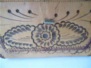 Vintage 60s Hand TOOLED LEATHER PURSE Flowers Western Hippie Boho