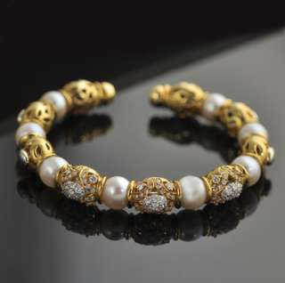 18k Gold Diamond Pearl Bracelet SALE 20% off limited time only