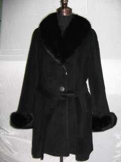 O30 New black wool fox fur trim stroller jacket coat M
