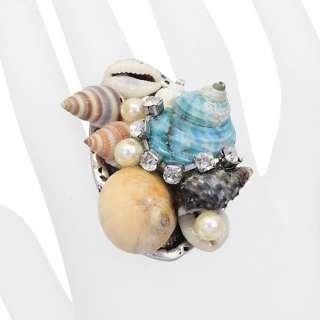 Seashell Rhinestone Crystal Pearl Cluster Stretch Ring