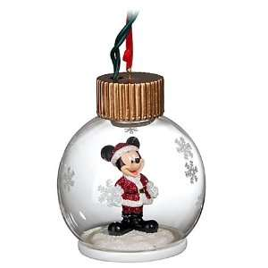 Disney World Santa Mickey Mouse Light Up Glass Ball Ornament Christmas