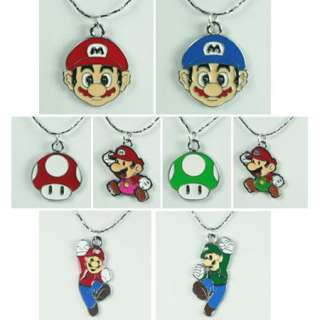 Lot 8x Super Mario Bros brothers One Up Charm Necklaces Birthday Party