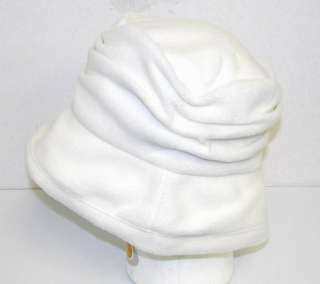 New Women Winter Crusher Fleece Bucket Hat   White 2