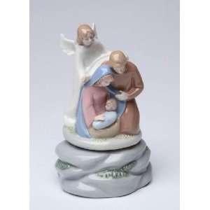 White Overlooking Holy Family Nativity Scene Music Box