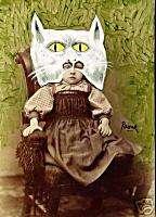 PAONE Cat Art Greeting Card Victorian Child Photo Print