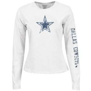 Ladies White Giant Logo Too Long Sleeve T shirt