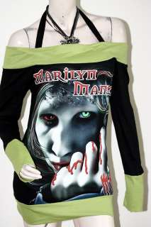 Marilyn Manson MM Rock DIY Funky Boat Neck Top Shirt