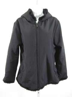 MARC NEW YORK Black Rabbit Fur Trim Coat Jacket Small
