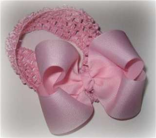 Light Pink Hair Bow Headband Puffy Baby Boutique Infant