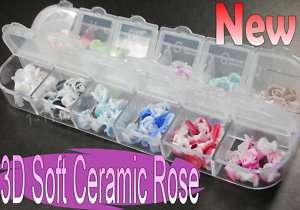 120 Pcs 12Colors 3D Soft Ceramic Rose Flowers Nail Art