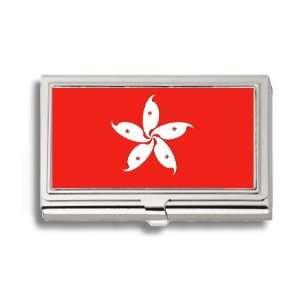 Hong Kong Flag Business Card Holder Metal Case Office
