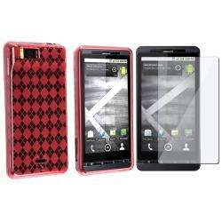 Clear Red Argyle TPU Case/ Screen Protector for Motorola MB810 Droid X