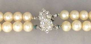 Vintage Double Strand Faux Pearl Choker Necklace Signed MARVELLA