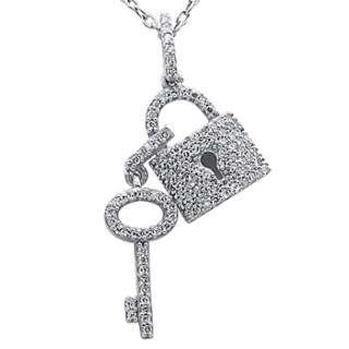 Diamond Key to My Heart & Lock Pendant 14k White Gold Necklace
