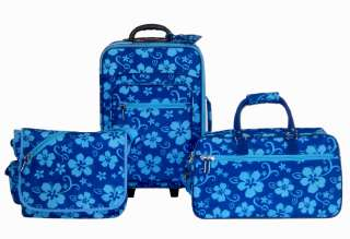 Turbulence Travel Gear 3 Piece Fashion Luggage Set, Blue