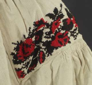 Embroidered Linen Dress Blouse ethnic folk costume peasant art