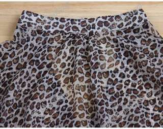 New Womens 3/4 Sleeve Casual Leopard Print Shirt Tops Botton Down