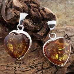 Sterling Silver Honey Amber Heart Earrings (Poland)