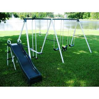 Flexible Flyer Super Slide N Fun Six Leg Metal Swing Set Outdoor Play