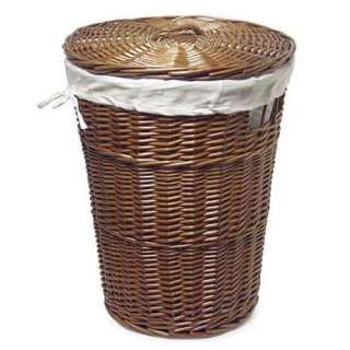 Wicker Laundry Hamper In Hammertone And Honey