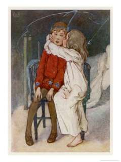 Peter Pan Being Kissed Gently on the Cheek by Wendy Giclee Print by