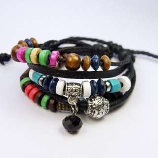 Tibetan Silver Leather hemp wood Beads Bangles Bracelet