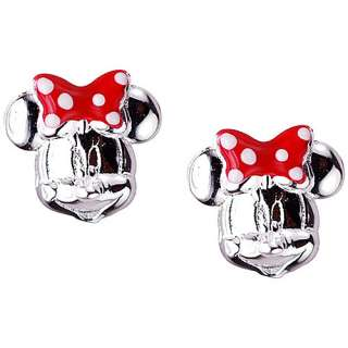 Disney Minnie Mouse Sterling Silver and Enamel Stud Earrings Earrings