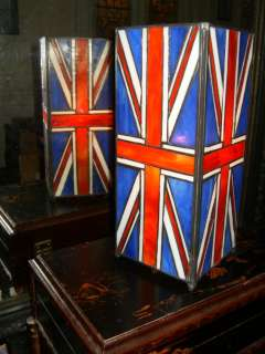 ART DECO UNION JACK FLAG BRITISH ENGLAND STAINED LEADED GLASS TIFFANY